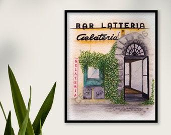 Gelateria Art Print - Cecilia Divito Design - Italian City Travel Painting - Rome Gelato Store Art  - Home Decor