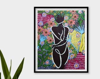 Flora Art Print - Cecilia Divito Design - Abstract Floral Art - Retro Print - Home Decor