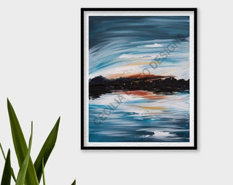 Abigail Art Print - Cecilia Divito Design - Water Landscape Acrylic Painting - Calm and Tranquil Art - Home Living Decor