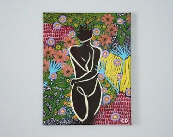 Original - Flora - Cecilia Divito Design - Feminine Silhouette Art - One of a Kind Acrylic Painting - Home Decor