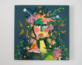 Original - Mariella - Cecilia Divito Design - Floral Fashion Portrait - One of a Kind Canvas - Home Decor