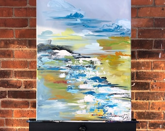 Original - Leland - Cecilia Divito Design - Abstract Landscape Acrylic Painting - One of a Kind Home Decor