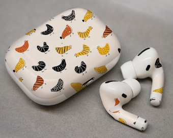 Funny print , chickens , decal for AirPods  trendy airpods chickens  Aidpods dots airpod case chickens pattern animal Airpods decal