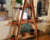 Handmade live edge wooden plant stand A Frame exposed natural bark shelf - made with recycled reclaimed wood