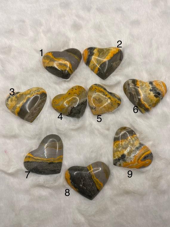 Bumblebee Jasper Heart Palm Worry Stone Cabochon Pendant Crystal