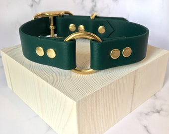 Vegan Leather Collar Forest Green Biothane Collar Waterproof Classic Collar Pack Brass Faux Leather