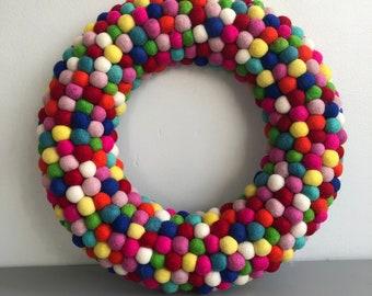 Felt ball Wreath extra large 45cm wide x 41cm length Multicoloured balls, reusable wreath valentines, easter, birthday, celebrations!