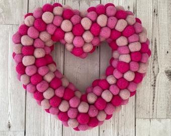 Pink Felt ball heart Wreath large  30cm x 30cm  Pink balls, reusable love wreath valentines, easter, birthday, celebrations!
