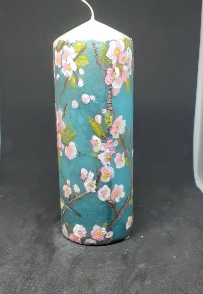 Cherry blossom and coal tit birds candle.Unique,unusual hand painted Pillar candle.