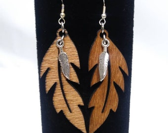 Feather Pendant Wood Feather Charm PS01653 Bird Pendant Bird Charm Sterling Silver Feather Charm Nature Charm