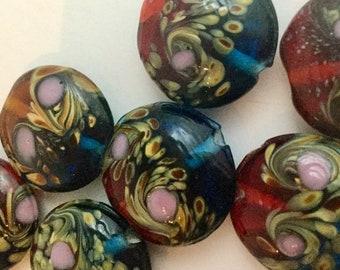 4 pieces Vintage Aventurine Confetti Lampwork Glass Saucer Beads 16mm