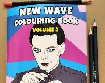 New Wave Colouring Book, adult colouring book, gift for new wave music fan, activity book, birthday gift, 80s music colouring book