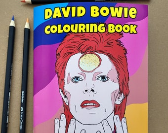 David Bowie Colouring Book, adult colouring book, gift for David Bowie fan, activity book, birthday gift, david bowie artwork