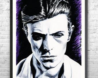 David Bowie art print, unframed, Bowie artwork, Bowie wall decor, Thin White Duke, Bowie fan gift, Bowie poster, Bowie merch, Bowie picture