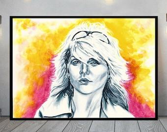 Debbie Harry painting, original watercolour portrait, Blondie wall art, punk music fan gift, new wave music wall decor, Blondie fan art