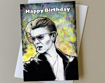 David Bowie birthday card, gift for David Bowie fan, greeting card for music fans, music birthday gift, personalised card, Bowie art card