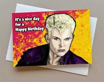 Billy Idol birthday card, gift for Billy Idol fan, greeting card for music fans, music birthday gift, personalised card, punk birthday card
