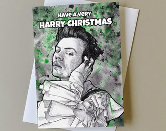 Harry Styles Christmas card, gift for One Direction fan, Harry Styles holiday card, Harry Styles fan gift