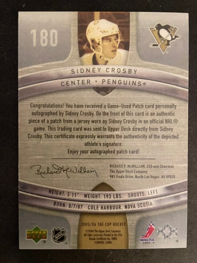 Mint Condition Sidney Crosby 2005-06 UD The Cup Rookie Auto Facsimile