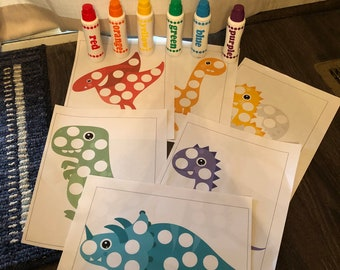 Dinosaur Dot Marker Worksheets - Dinosaur Worksheets - Toddler Worksheets - Preschool - Kindergarten - Dinosaurs - Dot Markers