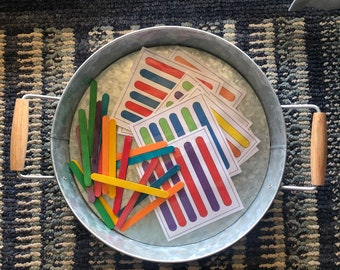 Busy Bag - Craft Stick Patterns - Toddler School Activity - Fine Motor Play - Patterns and Colors