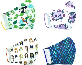Face Mask Handmade Canada | 3 Layer/Pocket | Fun Prints Collection| Cotton| Nose Wire