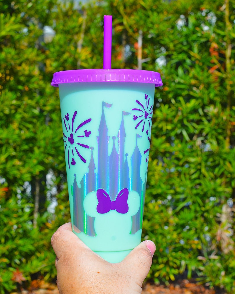 Disney Castle Holographic with fireworks purple and teal Color Changing Cold Cup