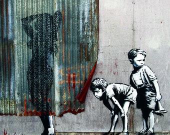 Banksy Boys and Shower Print, Banksy Street Art, Banksy graffiti Art, Canvas Print, Acrylic Image