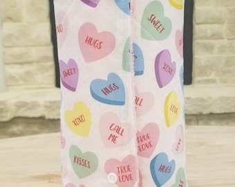 Valentine's Day. Candy Hearts. Reusable Paper Towel Roll With Snaps. Paperless Towels. Zero Waste.(set of 12)