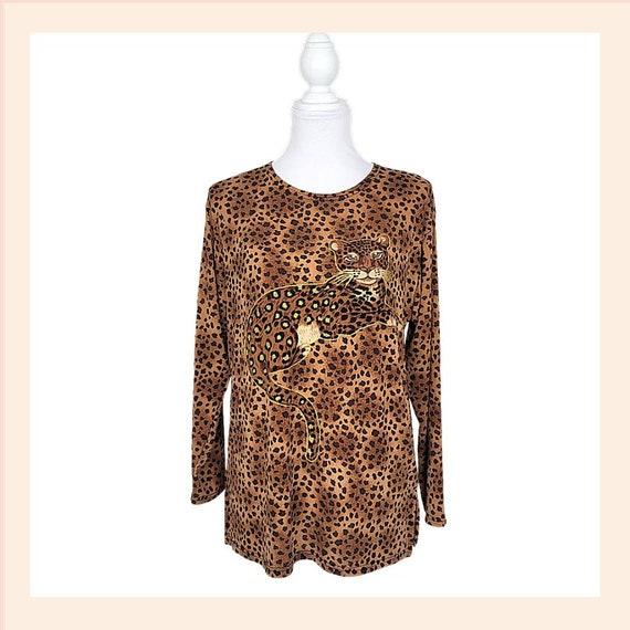 Vintage Leopard Cheetah Blouse Large