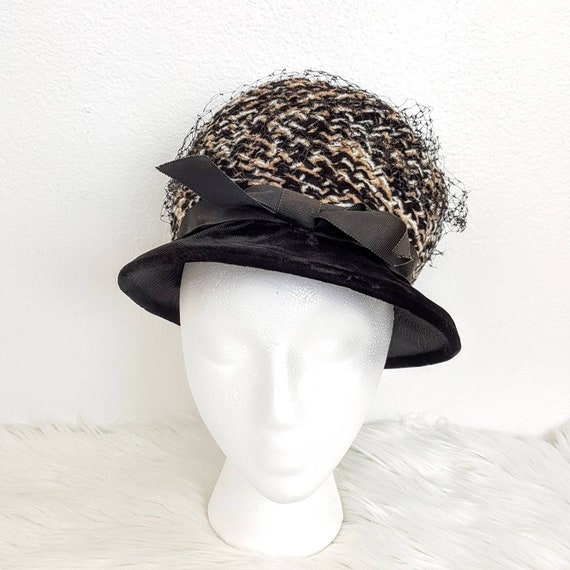 Vintage Black Fishnet Velvet Women's Hat