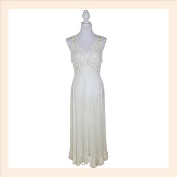 Vintage Large Lace Ivory Nightgown Sleepwear Maxi