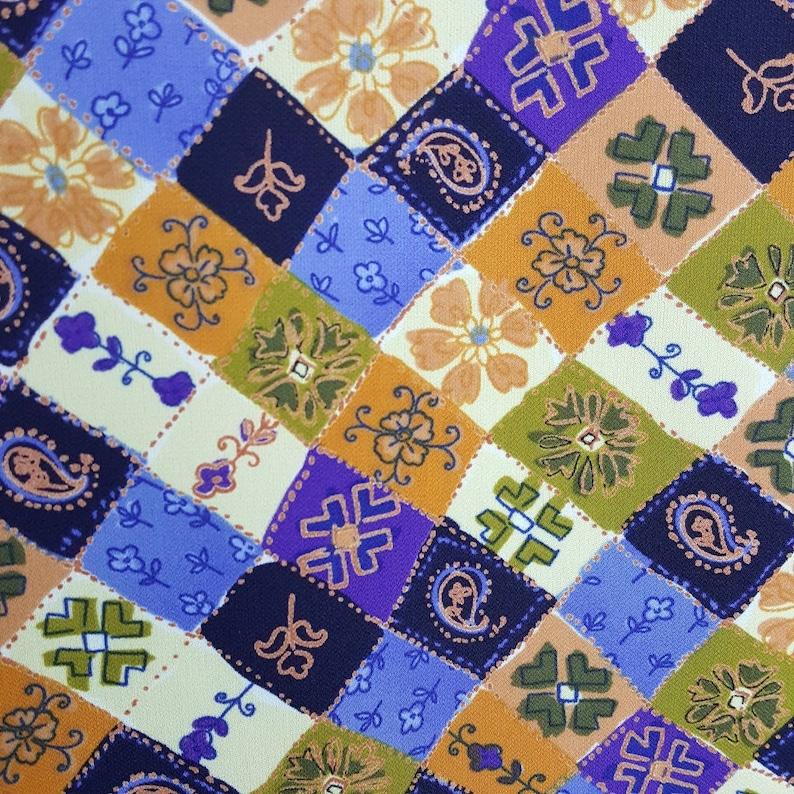 Vintage Jonathan Martin Medium Gypsy Boho Hippie Patchwork Purple Orange Green Blue Yellow Paisley Floral Ruffle Flowy Midi Women Dress