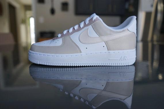 Beige Multicolored Custom Nike Air Force 1/ Air Force 1 shadow/ Air force 1 pixel/ Air force 1 sage low