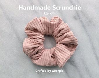 Blush Rib Knit Textured Big Bow Headwrap Scrunchie