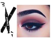 2 In 1 Double Sided Wing Stamp Waterproof Liquid Eyeliner Pen Easy Eye Makeup
