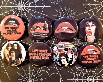 """Rocky Horror Picture Show 2.25"""" pin back Punk Movie Buttons. Tim Curry"""