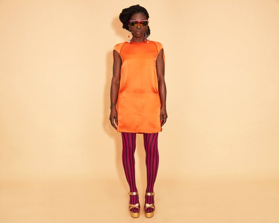 100% Orange Silk Acne Studios Date Night Mini Dres