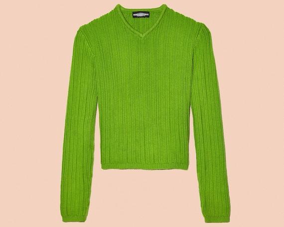Kelly Green Chunky Cropped Knit Longsleeve V-Neck