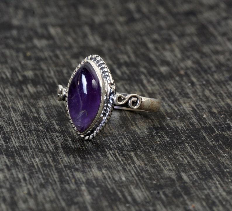 Dainty Ring Boho Ring Anniversary Ring Amethyst Ring Valentine Ring Silver Ring Gemstone Ring Statement Ring Vintage Ring Jewelry