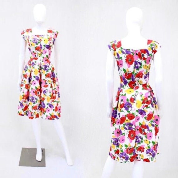 Floral Wiggle Sheath Dress - 1980s does 1950s Dres