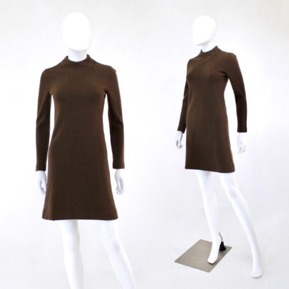 1960s Chocolate Brown Mod Knit Mini Dress - 1960 K
