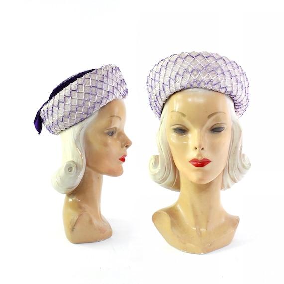 1960s Lavender Purple Breton Hat - 1960s Purple Ha