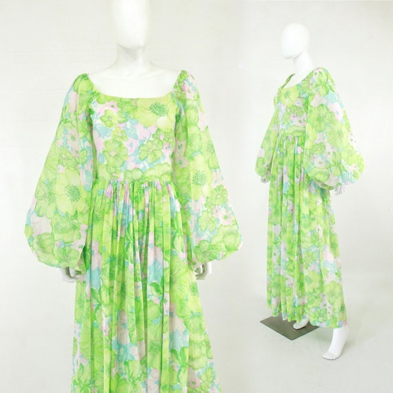 1970s Green Ethereal Dress with Large Balloon Slee