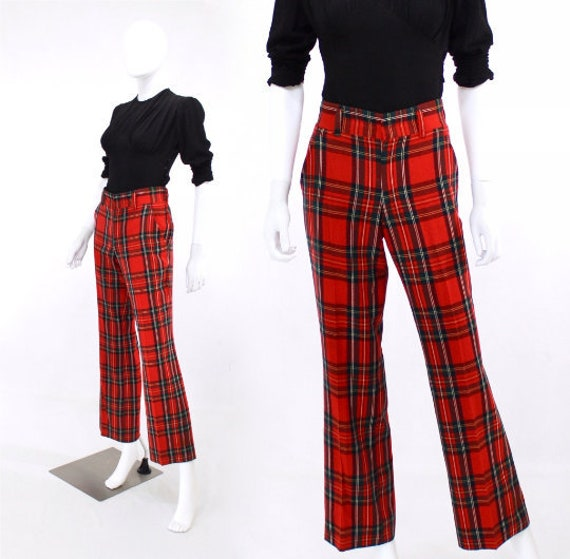 1970s Holiday Plaid Trousers - 1970s Plaid Pants -