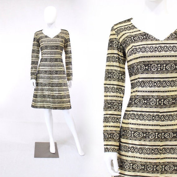 1960s Black & Gold Lurex Border Print Cocktail Dre
