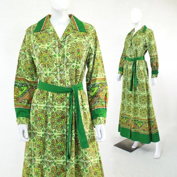 1970s Green Western Wear Border Print Maxi Dress -