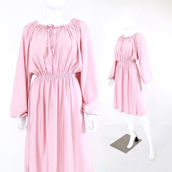 1970s Dusty Rose Pink Dress with Balloon Sleeves -