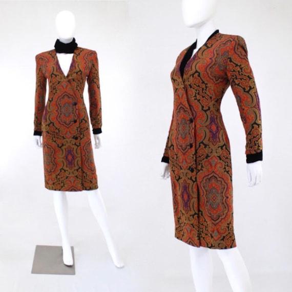 1990s Paisley Wiggle Dress - 1990s Paisley Dress -