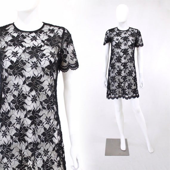 1990s Black Lace Baby Doll Mini Dress - 90s Black